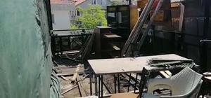 Erdek'te kafe yandı