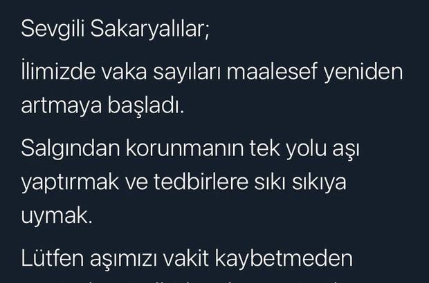"""Artan vakalara karşı Sakarya Valisi uyardı Vali Kaldırım: """"İlimizde vaka sayıları maalesef yeniden artmaya başladı"""""""