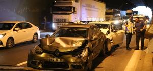 TEM'de 5 araç birbirine girdi: 5 yaralı Zincirleme kazanın kilitlediği TEM Otoyolu havadan görüntülendi