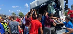 Artvin'deki sel bölgesinden görevden dönüyorlardı, kazayı görünce yardıma koştular Giresun'da trafik kazası: 1'i ağır 3 yaralı