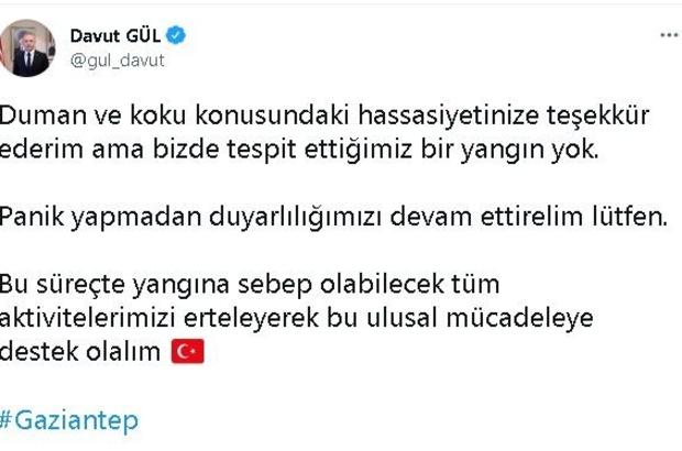 """Gaziantep'te etkili olan dumanlı hava kentte orman yangını paniği yaşattı Gaziantep Valisi Gül: """"Tespit ettiğimiz bir yangın yok"""""""
