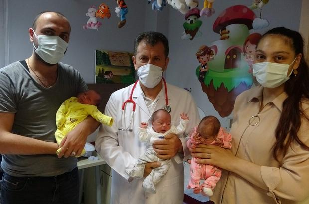 """İşsiz babaya üçüz bebek sürprizi Üçüz bebek sahibi olmanın mutluluğunu yaşayan baba Gençağa Aksu: """"Pandemiden dolayı işten ayrıldım. Şuan işsizim, çocuk bakıyorum"""""""