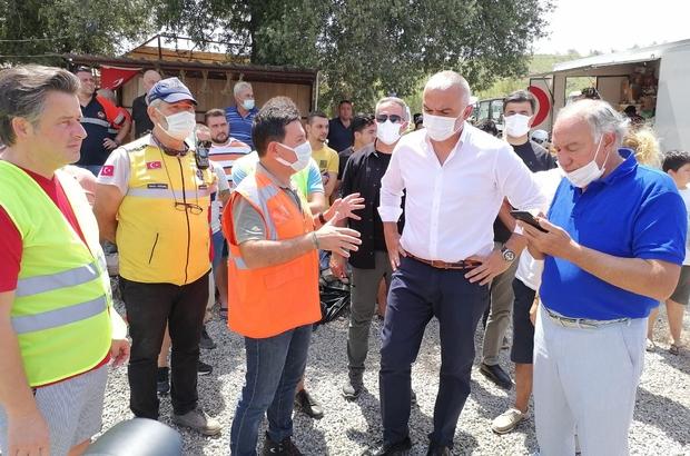 Bakan Ersoy yangın bölgesinde çalışmaları takip etti