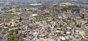 Manavgat 9 günlük yangın sonrası havadan görüntülendi Kepez Baraj Göleti'nin etrafındaki ağaçların da yandığı görüldü