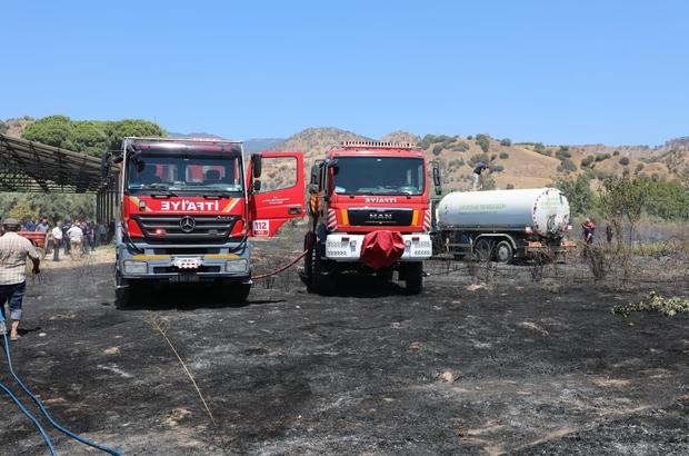 Aydın Büyükşehir Belediyesi İtfaiye ekipleri yangını kısa sürede kontrol altına aldı