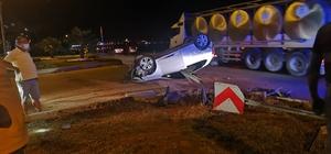 Ters dönen otomobilin sürüklendiği kazada 5 kişi yaralandı