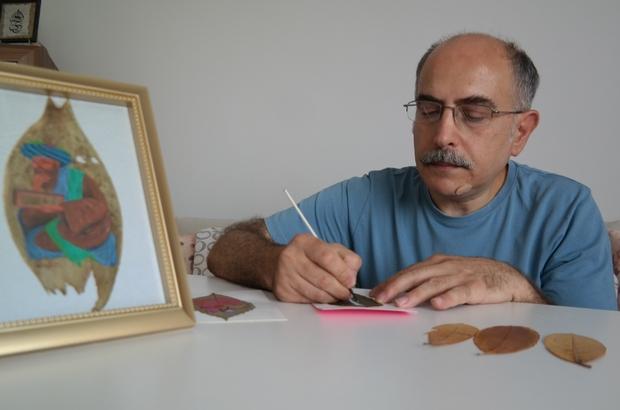 (ÖZEL) Yaprakları tuval gibi kullanıp hat ve minyatür figürler işliyor Pandemi onu sanatçı yaptı