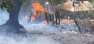 Ormanlık alanda çıkan yangını evlere sıçramadan söndürüldü