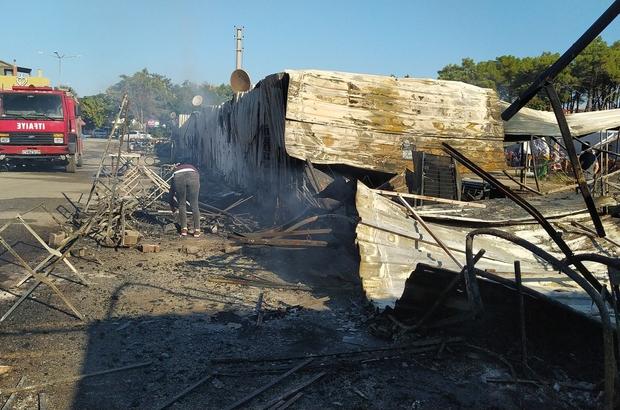 Edirne'de pazar yerinde çıkan yangında 9 iş yeri ağır hasar gördü
