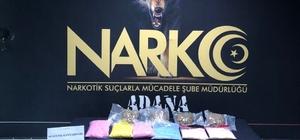Adana'da tırda 9 kilo 700 gram uyuşturucu hap ele geçirildi Adana polisinin uygulama sırasında hassas burunlu narkotik köpeği Uzi'nin tepki verdiği valizden uyuşturucu çıktı