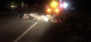Edirne'de takla atan otomobil metrelerce sürüklendi: 1 yaralı