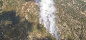 Manavgat'ta çıkan yangına 15 helikopter 3 uçak desteği